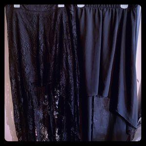 Bundle of black high-low maxi skirts 💀🖤🌙